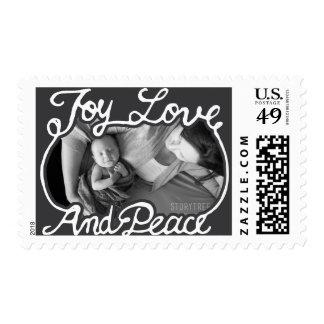 Photo Holiday Stamp: Chalkboard Peace Love Joy Postage