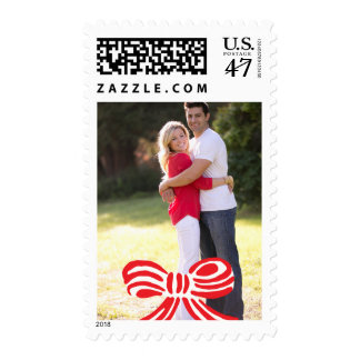 Photo Holiday Stamp: Red & White Bow Postage
