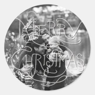 Photo Holiday Sticker: Chalkboard Merry Christmas Classic Round Sticker