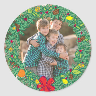 Photo Holiday Sticker: Christmas Wreath Photo Classic Round Sticker