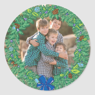 Photo Holiday Sticker: Round Hanukkah Wreath Frame Classic Round Sticker