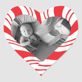 Photo Holiday Stickers: Candy Cane Heart Frame Heart Sticker