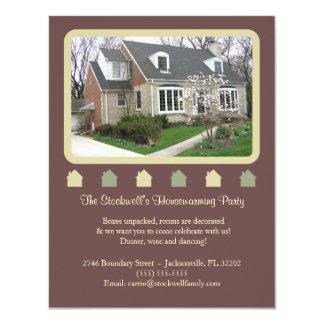 "Photo Housewarming Invitation - Brown 4.25"" X 5.5"" Invitation Card"