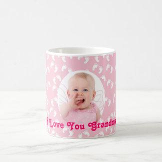 "Photo ""I Love You Grandma"" Custom Pink and White Coffee Mug"