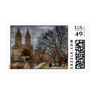 Photo in Central Park Near the Bow Bridge Postage Stamp