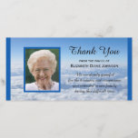 "Photo in the Clouds Sympathy Thank You Photo Card<br><div class=""desc"">This stunning photo card features a photo of your loved one as the focal point with a blue border which is repeated along the right and left edges of the photo card. The words &quot;Thank You&quot; appear in the sky with the name of your family right below. Beautiful words to...</div>"