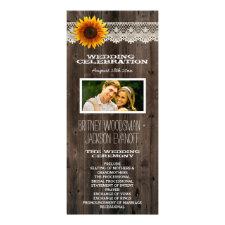 Photo Lace & Barn Wood Sunflower Wedding Programs Rack Card Design