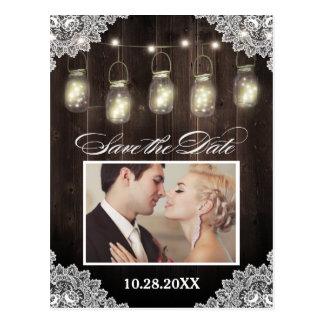 Photo Lace Wood Mason Jar Save the Date Postcards