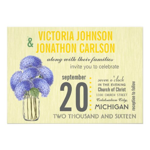 Photo Lavender Yellow Hydrangea Mason Jar Wedding Cards