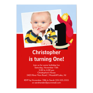 Photo Little Firefighter Boy First Birthday Party Card