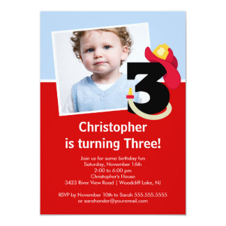 "Photo Little Firefighter Boy Third Birthday Party 5"" X 7"" Invitation Card"