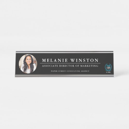 Photo | Logo Professional Office Personalized Blk Desk Name Plate