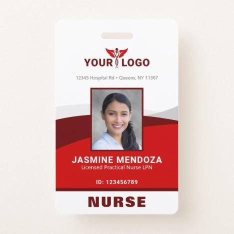 Photo Logo Red Template Employee Name Nurse ID Badge