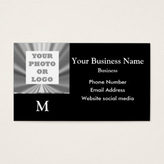 Photo logo silver gray and black metallic look business card