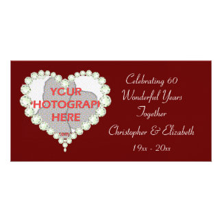 Photo Love Heart Diamond Anniversary Photo Card