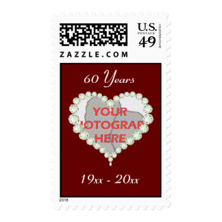 Photo Love Heart Diamond Anniversary Postage Stamps