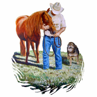 Photo Magnet, Cowboy with Horse and Dog Statuette
