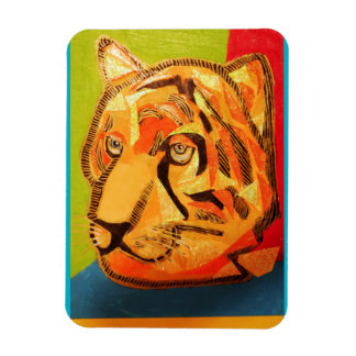 Photo Magnet with Tough Cat Tiger Design