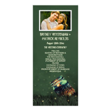 Photo Mason Jar Rustic Firefly Wedding Programs Full Color Rack Card