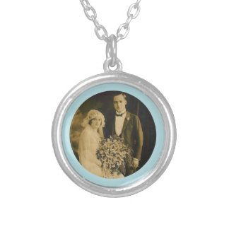 Photo Memorial Charm for Wedding Bouquet in Blue Silver Plated Necklace