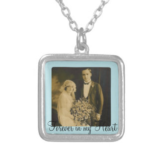 Photo Memorial Charm for Wedding Bouquet in Blue Square Pendant Necklace