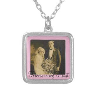 Photo Memorial Charm for Wedding Bouquet in Pink Square Pendant Necklace