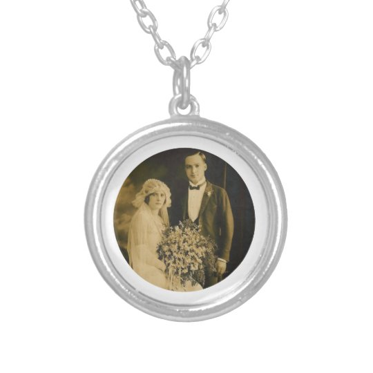 Photo Memorial Charm for Wedding Bouquet in White Silver Plated Necklace