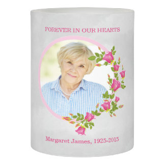 Photo Memorial In Memory of Pink Rose Flameless Candle