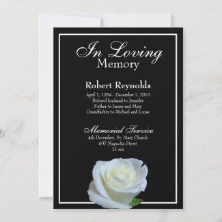 Photo Memorial or Funeral Black & White Floral Invitation