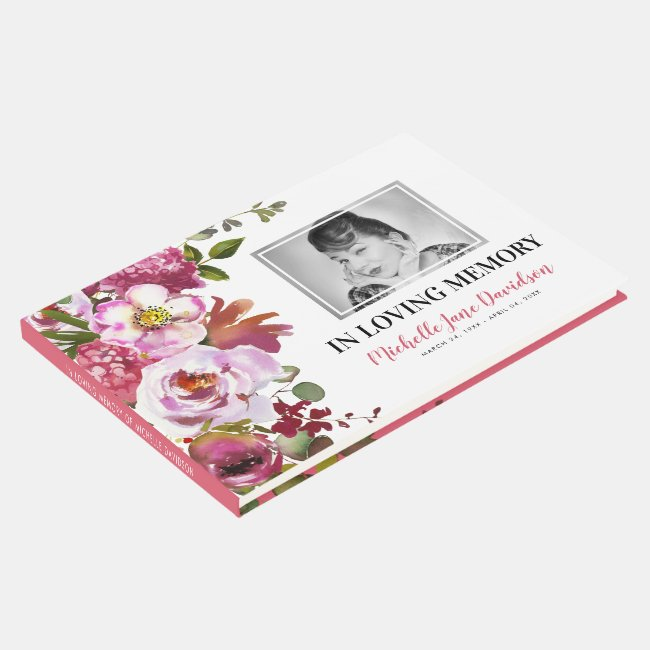 Photo Memorial Pink Floral Funeral Guest Book