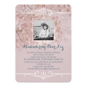 Photo Memorial Service Dusty Pink Cherry Blossoms Invitation