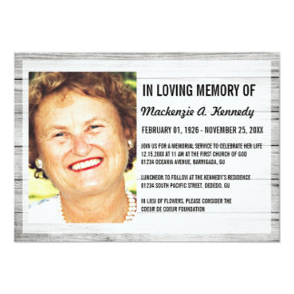 Photo Memorial Service Or Funeral Invitations Announcements Zazzle