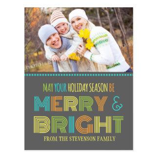 Photo Merry Bright Postcard Colorful Christmas