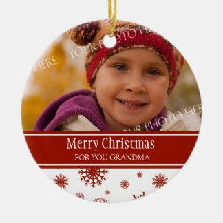 Photo Merry Christmas Grandma Ornament Red
