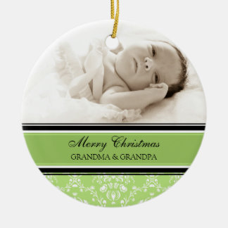 Photo Merry Christmas Grandparents Ornament Green