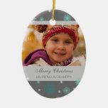 Photo Merry Christmas Grandparents Ornament Grey