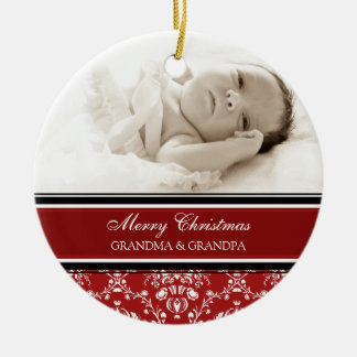 Photo Merry Christmas Grandparents Ornament Red