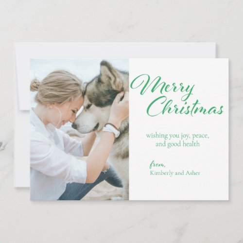 Photo Merry Christmas Green and White Greeting Holiday Card