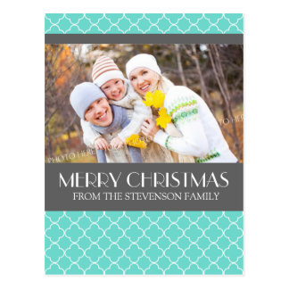 Photo Merry Christmas Postcard Teal Quatrefoil