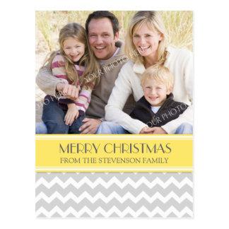 Photo Merry Christmas Postcard Yellow Grey Chevron