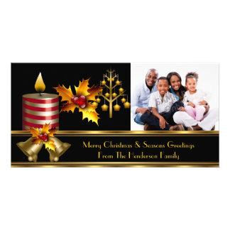 Photo Merry Christmas Season Greetings Family 3 Photo Cards