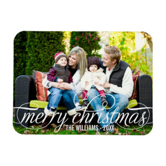 Photo Merry Christmas | White Script Overlay Rectangle Magnets