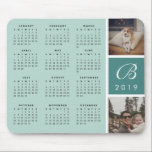 "Photo & Monogram 2019 Calendar Mousepad<br><div class=""desc"">Keep your 2019 dates handy with our 2019 calendar mousepad in tone-on-tone shades of misty seaglass green. Personalize with your monogram and two favorite square or Instagram photos.</div>"