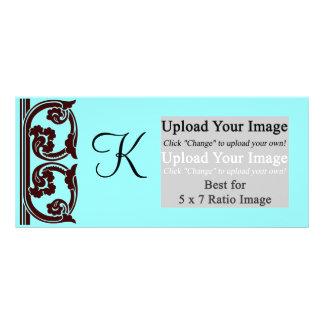 Photo Monogram Chocolate Teal Rack Card Templae