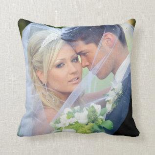 Photo  Monogram Names Wedding Keepsake Pillow at Zazzle