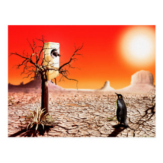 Photo montage penguins in the desert post cards