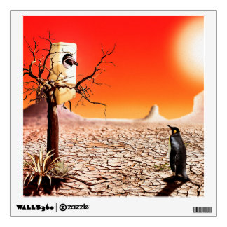 Photo montage penguins in the desert wall sticker