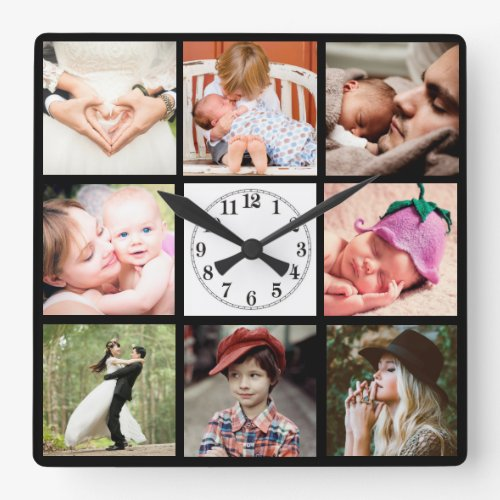 Photo Montage Square Photos Collage Wall Clock