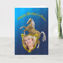 Photo Mother's day card with a rearing horse