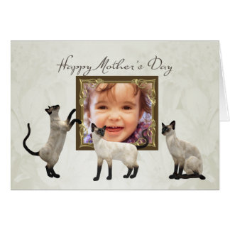 Photo Mother's Day card with siamese cats